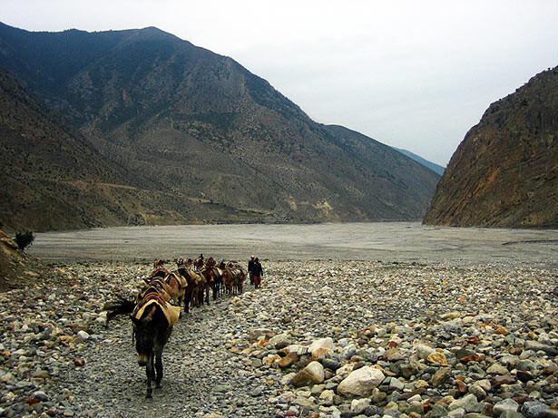 Unos comerciantes cruzando el río Gandaki a la altura de Kagbeni