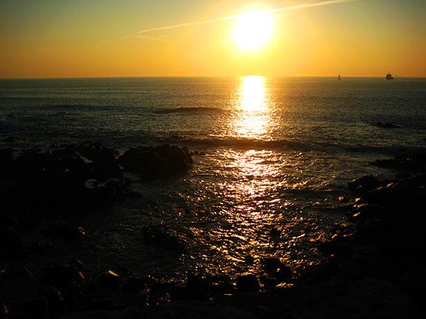 La playa de Matosinhos al atardecer