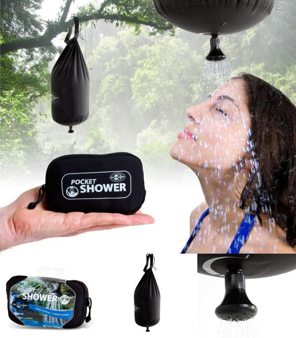Una ducha portátil de bolsillo