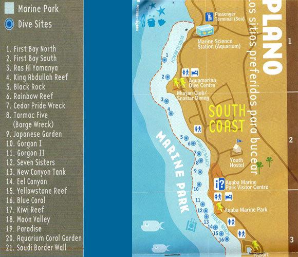 Mapa de las playas de Aqaba