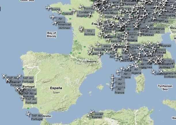 Paralizado el tráfico de aviones en España
