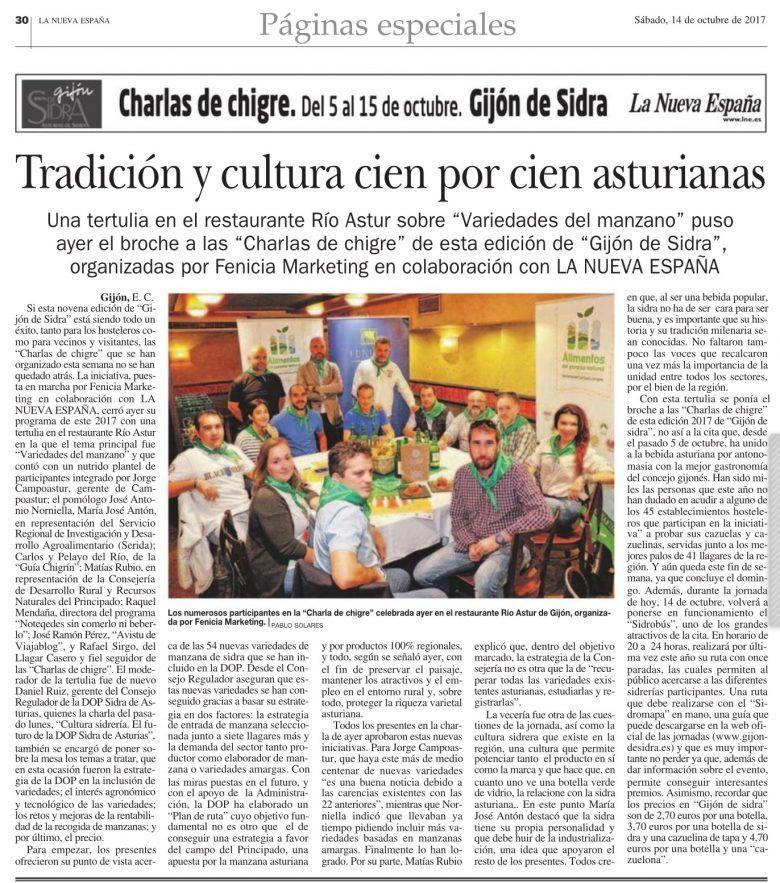 Artículo en el periódico sobre las Charlas de chigre en Gijón