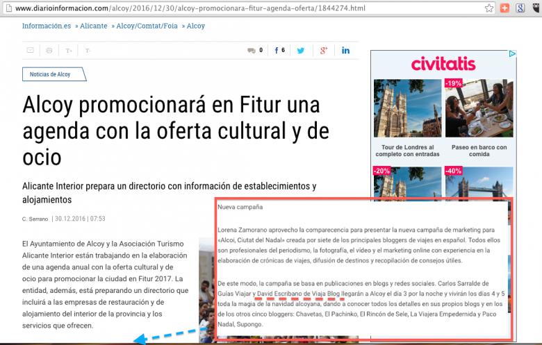 Viajablog en Prensa: Información Alcoy, Alicante