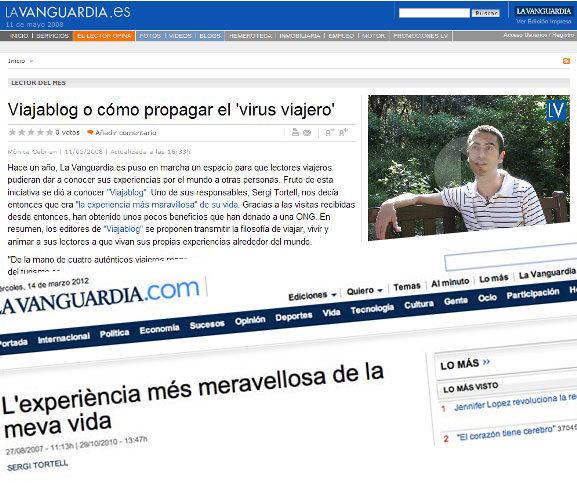 Entrevistas a Sergi y Quique respectivamente en La Vanguardia sobre la novedad de los blogs de viajes en el 2007 y 2008