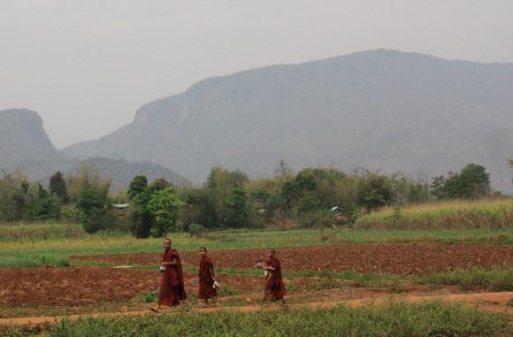 Monjes camino del templo en Innle