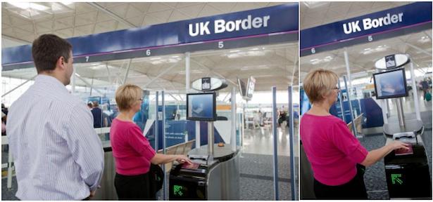 Control pasaportes automático ABC en el aeropuerto Londres - Stansted