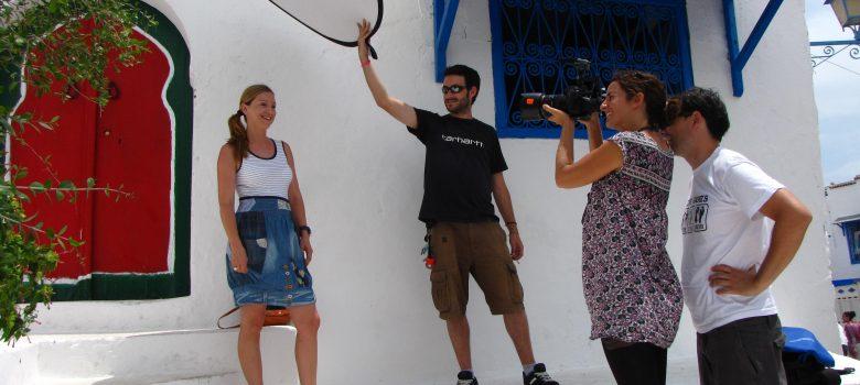 Grabando el documental en Sidi Bou Said