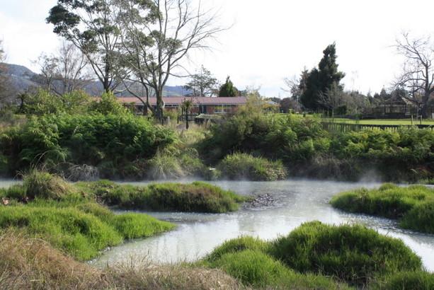 El parque de Kuirau en el centro de Rotorua.