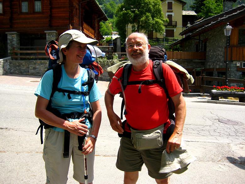 La pareja de excursionistas