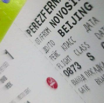 Tarjeta de embarque Novosibirsk Beijing de S7 Siberian Airways