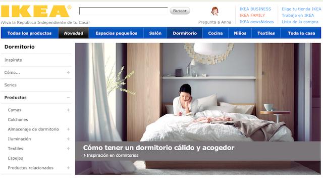 Dormitorios de IKEA en su web