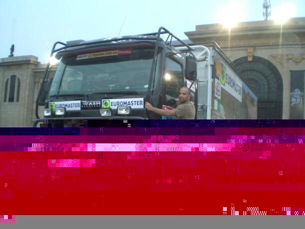 Uno de los camiones que participarían en el Dakar del 2009