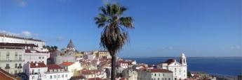 Vistas desde el mirador de Castelo, Lisboa