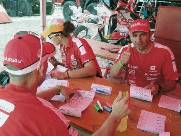 Miguel Puertas y Laia Sanz preparando el Road Book del día