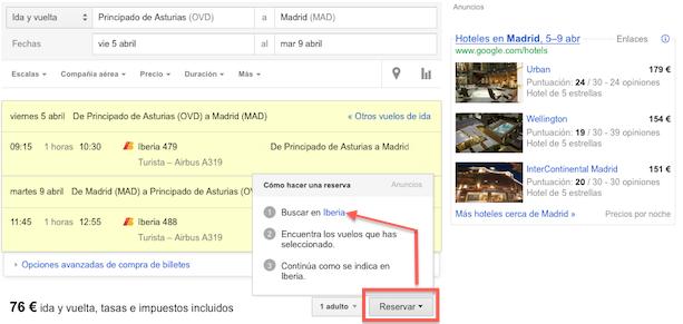 Comprando vuelos con Google (IV)