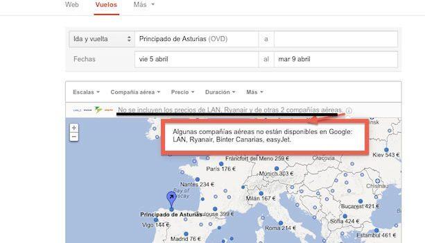 Google Flight Search sin Low Cost