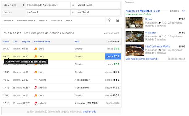 Seleccionando Vuelos con Google (I)