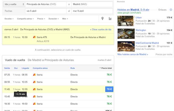 Seleccionando Vuelos con Google (II)