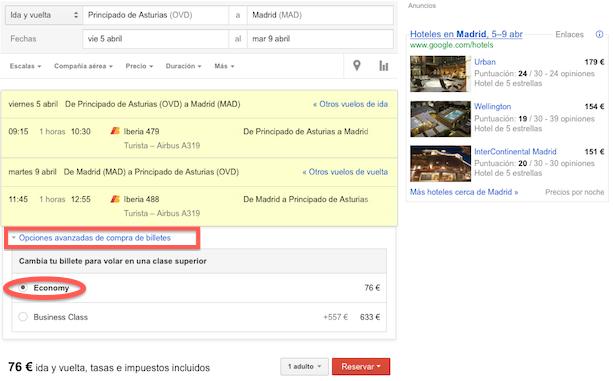Seleccionando vuelos con Google (III)
