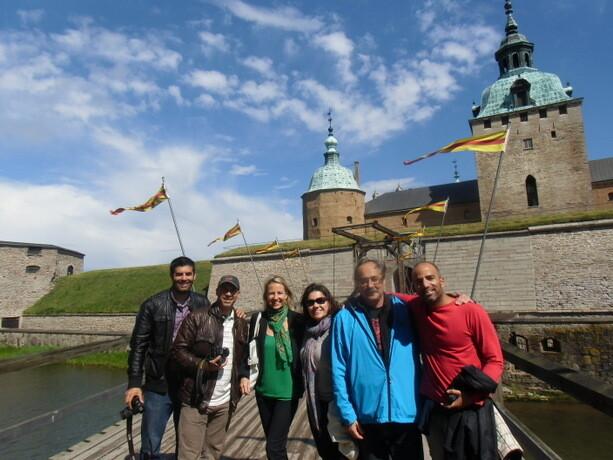 """El grupo de """"daneses"""" al asalto del castillo de Kalmar. Con el gran Xavi Moret, Isra, David, Verónica y Karin."""