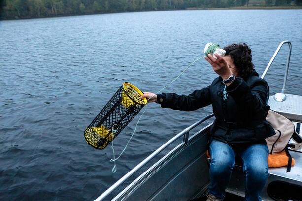 Echando las trampas para cangrejos en el lago Klockesjön en Ramkvilla