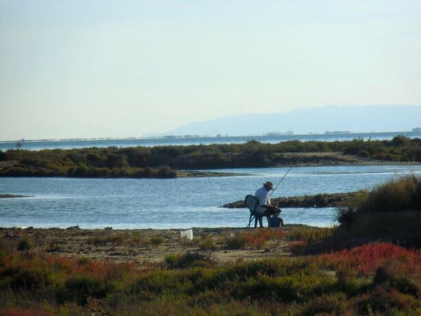 Un pescador solitario con su caña