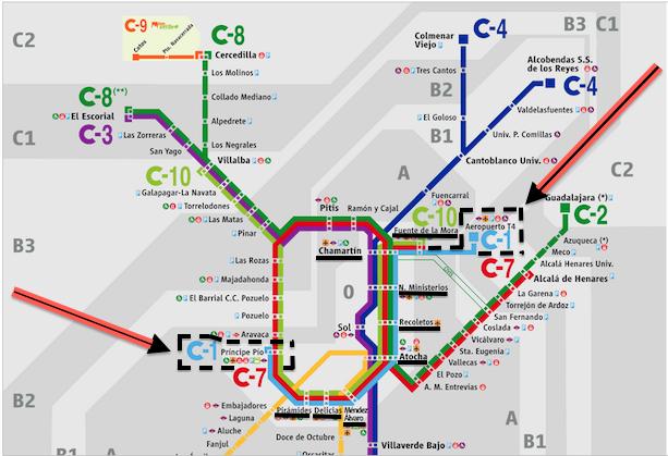Plano Cercanías RENFE Madrid