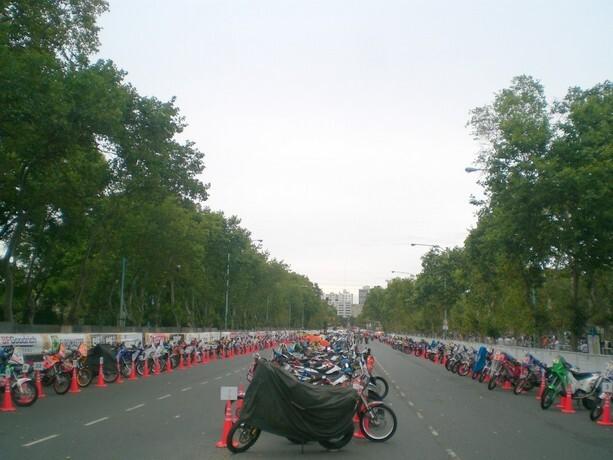 Las motos alineadas en el bosque de Palermo de Buenos Aires en 2009.
