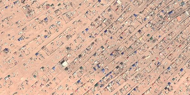Vista aérea casas y gers en Zamyn Uud Mongolia