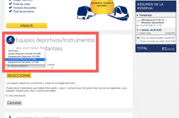 Instrumentos musicales y deportivos como equipaje con Ryanair