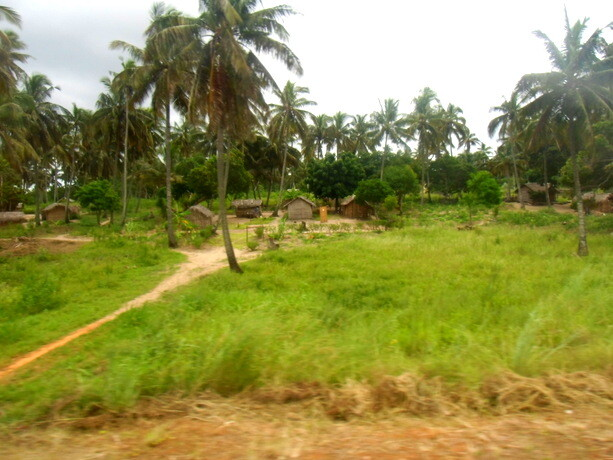 Aldeas a la orilla de la carretera en Mozambique