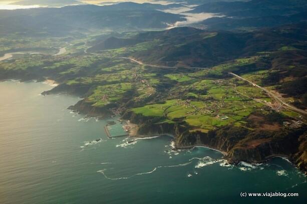 La costa de Asturias desde un vuelo comercial