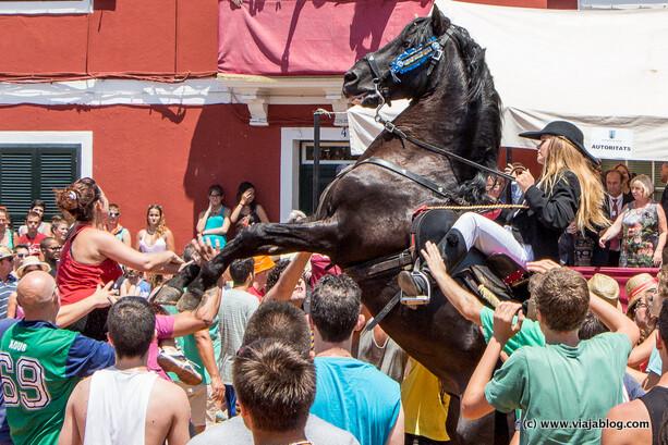Cosas que no hacer: ponerse al alcance de las patas del caballo, Jaleo en Es Castell, Menorca