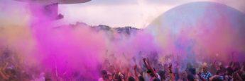 Lanzamiento de polvo de colores, Holi Party, Centro Niemeyer, Avilés
