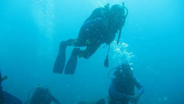 Practicando el submarinismo en Palamós