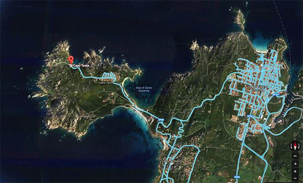 Visual aerea de Capo Testa desde Google Street View