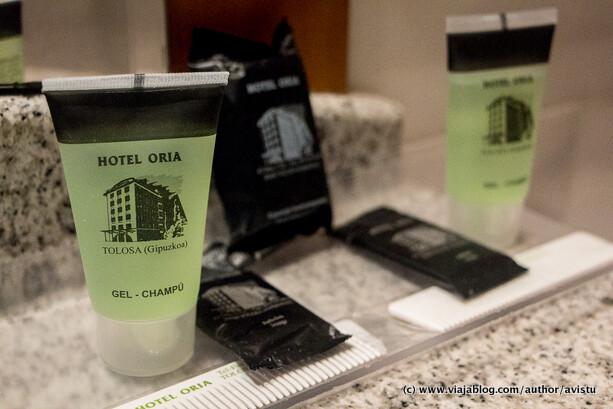 Amenities (artículos de tocador) del Hotel Oria en Tolosa