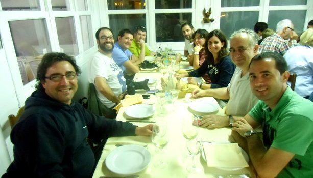 El grupo cenando en el Restaurante Begoña de Gorliz