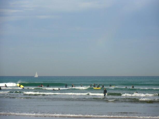 A pesar de ser Viernes, la escuela tenía bastantes alumnos en el agua