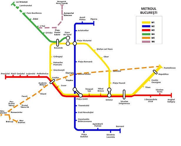 Mapa del metro de Bucarest