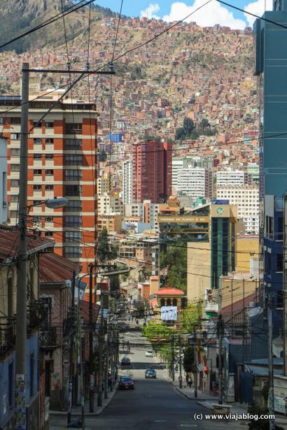 Cuestas y casas en las colinas, La Paz, Bolivia