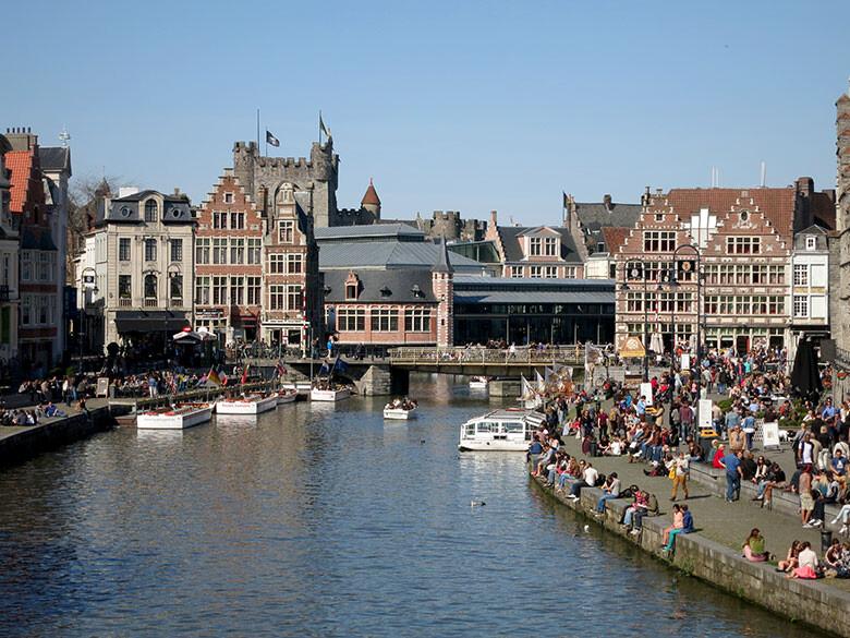 Vistas a lo que fue el primer puerto de mercancías de Gante en el siglo XI