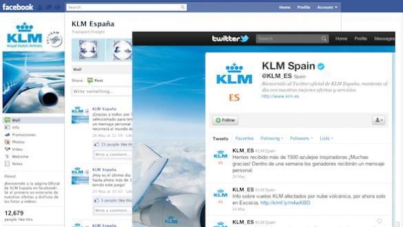 Klm en Facebook y Twitter