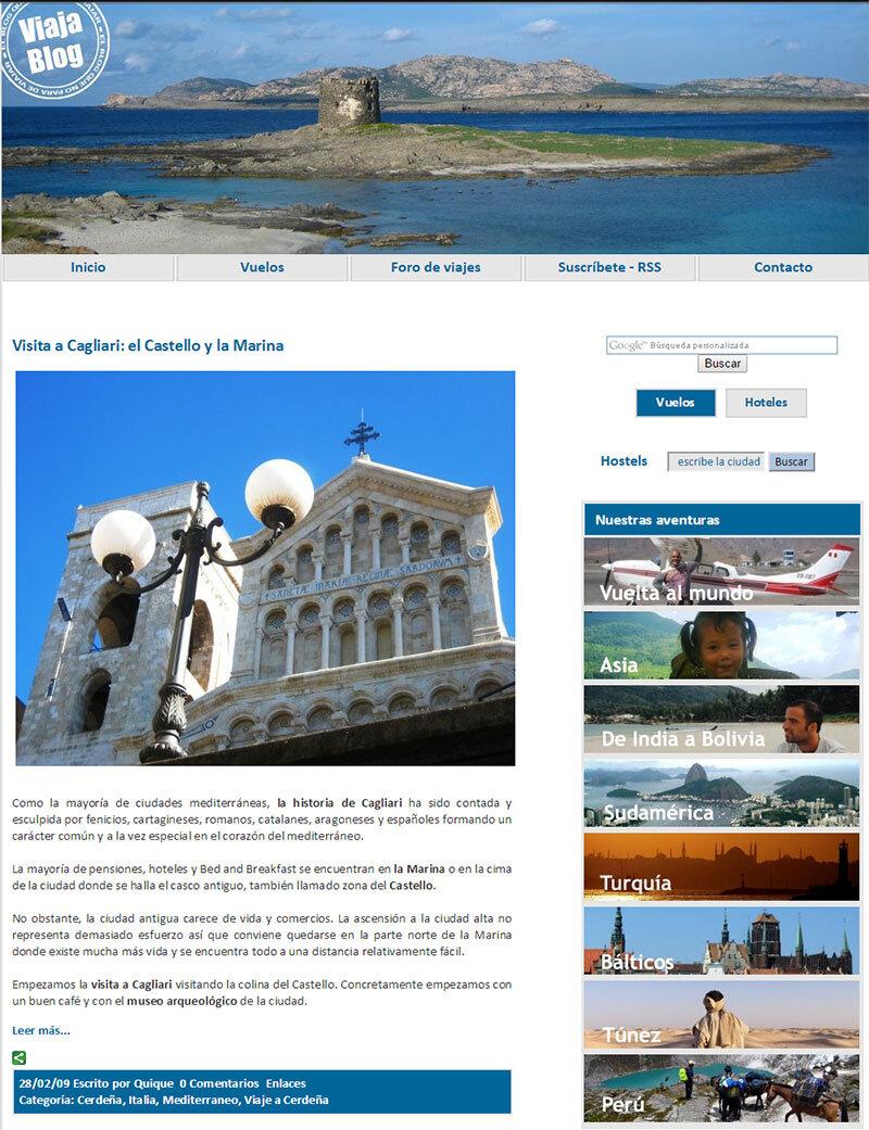 El diseño de Viajablog siete años atrás