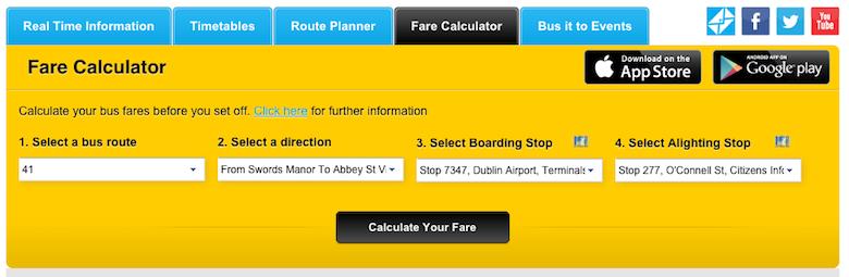 Calculador de tarifa Dublin Bus, Línea 41 del Aeropuerto al Centro
