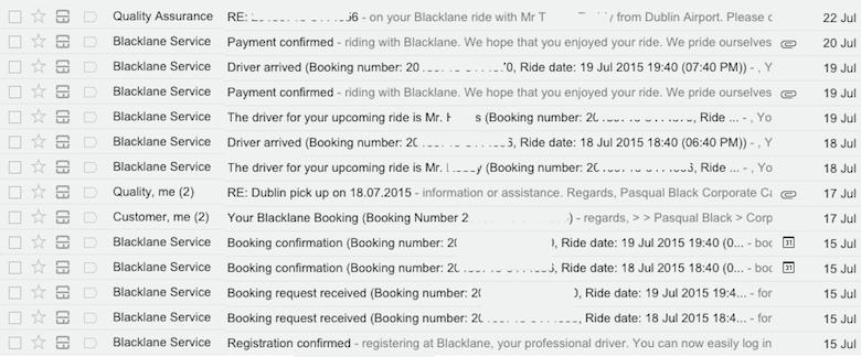 Emails de confirmación del transporte con Blacklane desde/a Aeropuerto a Dublín