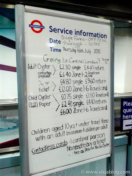 Información manual de tarifas en el Metro de Londres
