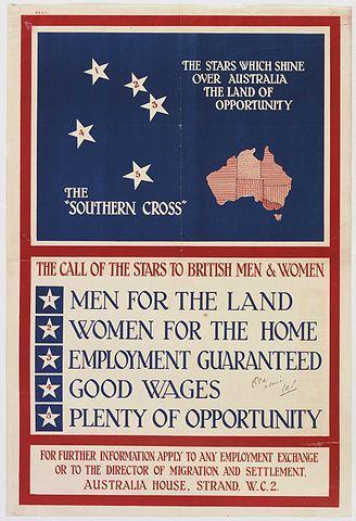 Poster del Gobierno de Australia para fomentar la emigración de los británicos