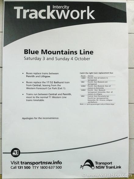 Aviso de obras en las vías y uso de autobuses en Sidney, entre Penrith y Lithgow