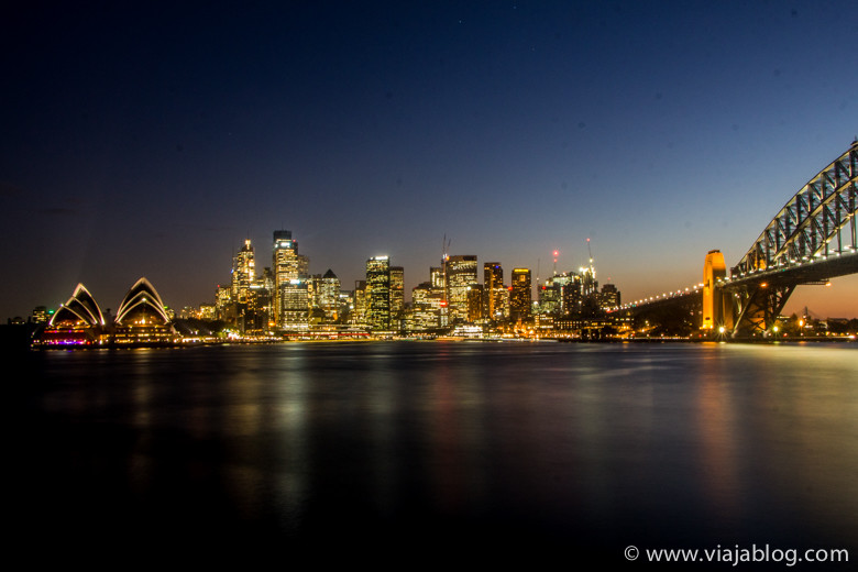 Sidney Opera House, CBD, Puente al anochecer, Australia